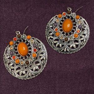 Silver and orange earrings